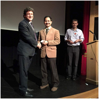 Dr. VV.Jaichandran receives the award from Professor Peter Shah, President, British Ophthalmic Anaesthesia Society